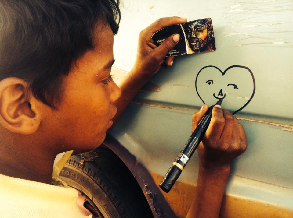 Children painting car, Children, Art, Child Art, Orphans painting, Maruti van, Maruti, cars, design, love